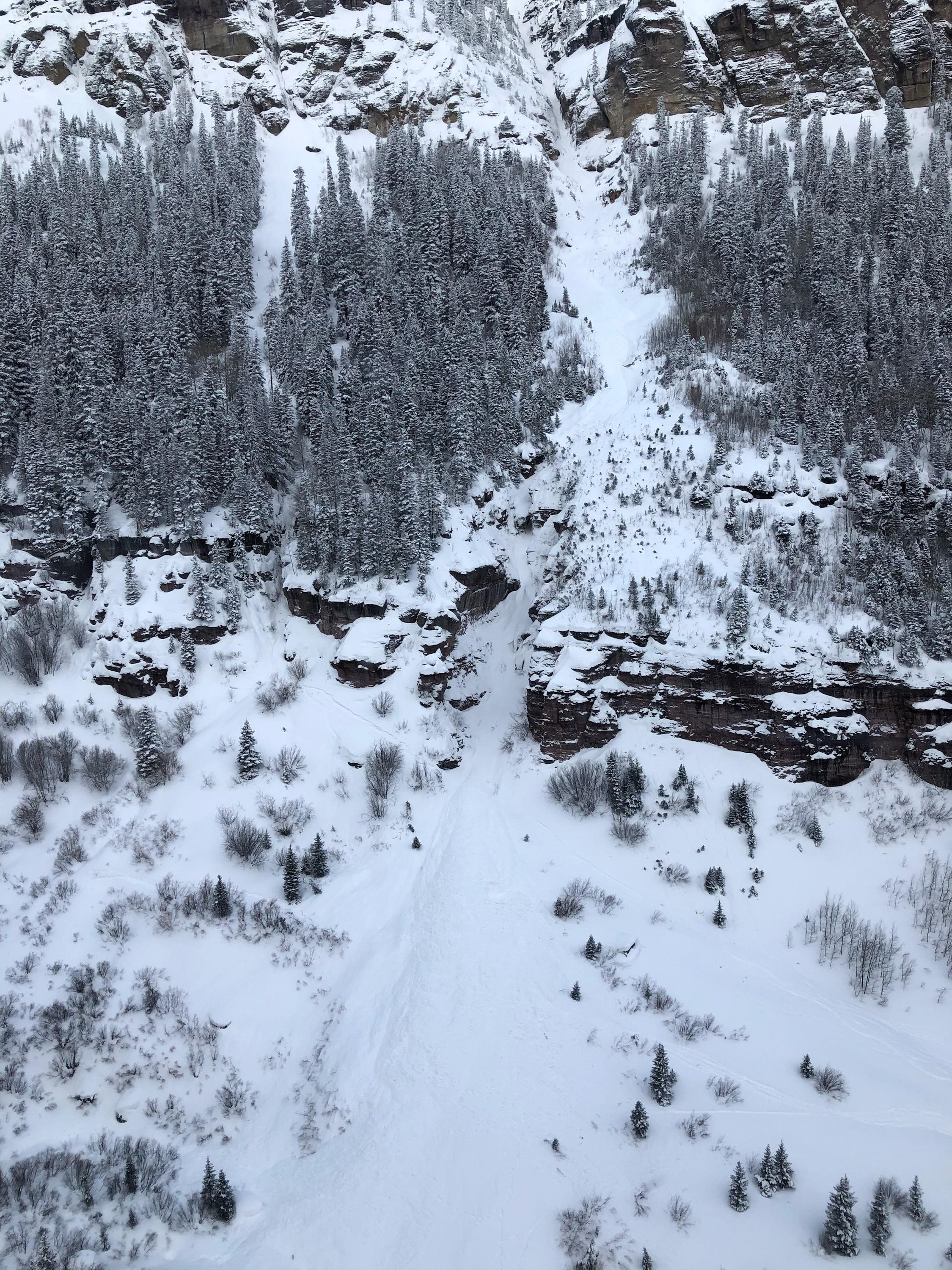 This image shows the avalanche debris in the lower portion of the runout area. Bear Creek February 19, 2019