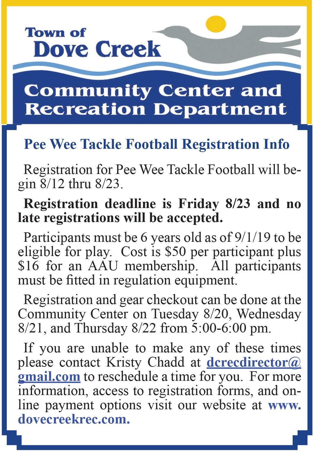 Pee Wee Tackle Football Registration