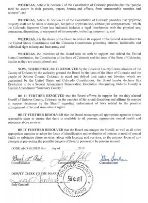 DOLORES COUNTY RESOLUTION NO. 3-19-01 Page 2