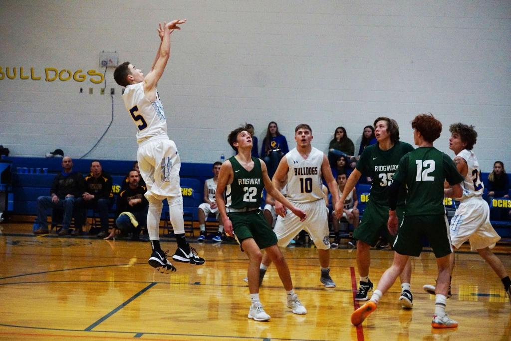 Photo by Brian Myers/ Freshman Kade Hankins (#5) named Player of the Game scoring 42 points, 10 rebounds, and 8 steals