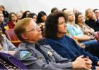 Sheriff Martin (left) sitting next to Dawn Wilson (right) during his last minutes in office at the Official Swearing In Ceremony held at the Courthouse on Tuesday, January 9, 2019