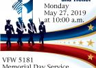 VFW 5181 Memorial Day Service is 10 a.m. at Dove Creek Cemetery